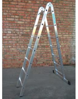 Лестница 2-х секционная шарнирная 2х7 (1,95/4,01м)