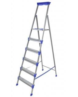Стремянка стальная 6 ступеней (1,29м), с лотком для инструментов