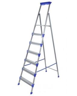 Стремянка стальная 7 ступеней (1,51м), с лотком для инструментов