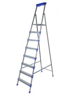 Стремянка стальная 8 ступеней (1,72м), с лотком для инструментов