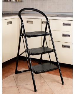 Стремянка 3-х ступенчатая Alterno с широкими антискользящими ступенями. Black Edition Exclusive